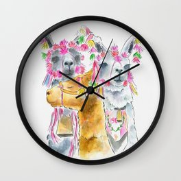 Happy alpacas watercolor Wall Clock