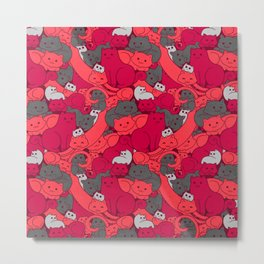 Purrrfect Pattern (Red) Metal Print