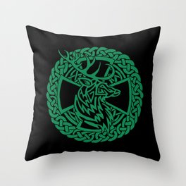 Celtic Nature Deer Throw Pillow