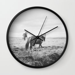 Modern Animal Print, Icelandic Horses Wall Clock