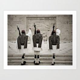 Greek National Guard of Honor near Athens Parliament Art Print