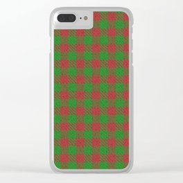 Accident, Medium Carmine on Forest Green Ungulate Plaid Clear iPhone Case
