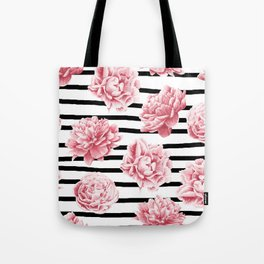 Simply Drawn Stripes and Roses Tote Bag