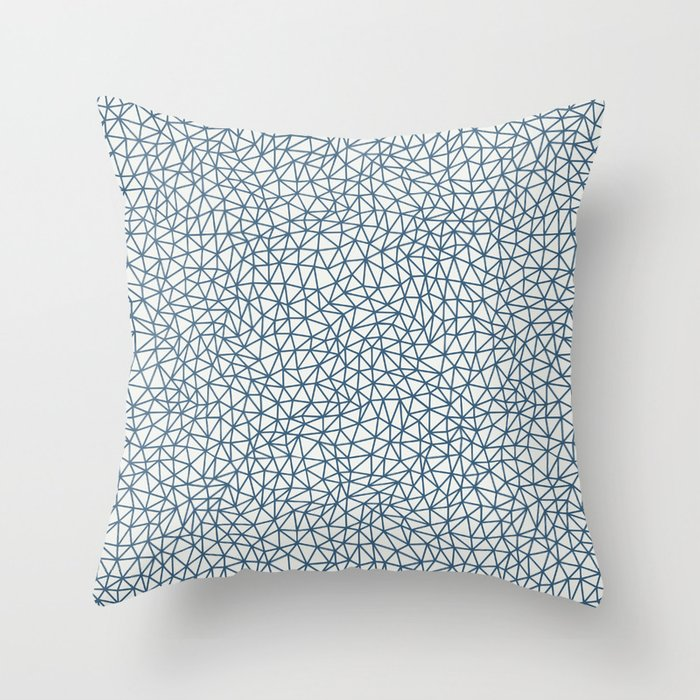 Blue Abstract Triangle Shape Pattern on Off White Pairs To 2020 Color of the Year Chinese Porcelain Throw Pillow