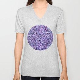 Purple Leopard Print Unisex V-Neck