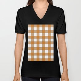 Gingham (Bronze/White) Unisex V-Neck