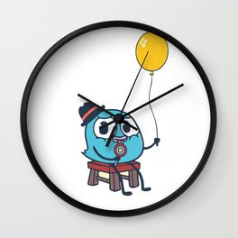 Funny Cute Bird And Balloon Wall Clock