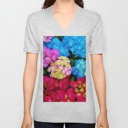 Red Blue Rose Flower Blossoms Hydrangeas Unisex V-Neck