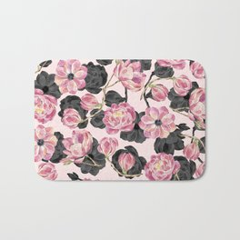 Girly Blush Pink and Black Watercolor Flowers Bath Mat