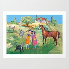 Kids on the countryside, colourfull illustration for kids Art Print