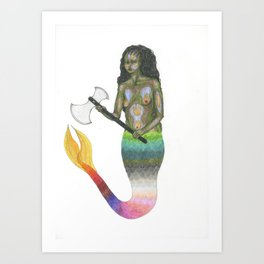 black mermaid with an axe II Art Print