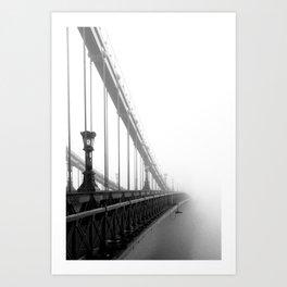 Bridge lost in fog Black and White Art Print