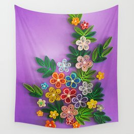 Vivid multicolour quilled flowers on lavender purple background Wall Tapestry