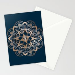 Lotus metal mandala on blue Stationery Cards