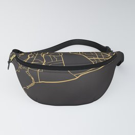 CAPE TOWN SOUTH AFRICA GOLD ON BLACK CITY MAP Fanny Pack