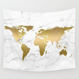 Metallic Gold World Map On Marble Wall Tapestry