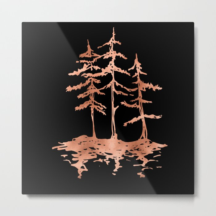 THE THREE SISTERS Trees Rose Gold Metal Print
