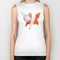 origami Biker Tanks featuring Origami Fox by dellydel