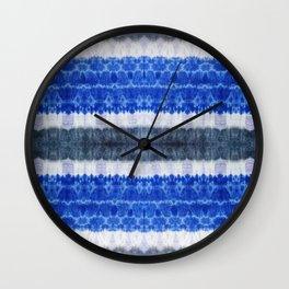 tie dye ancient resist-dyeing techniques Indigo blue grey lilac textile Wall Clock
