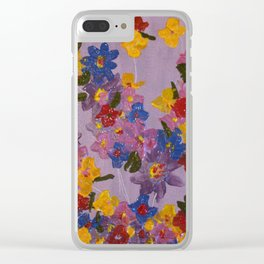 Textured Flowers I Clear iPhone Case