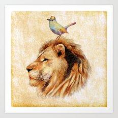 Lion&Bird Art Print
