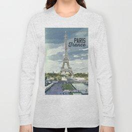 Paris, France / Vintage style poster Long Sleeve T-shirt