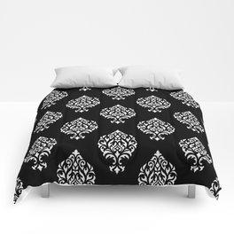 Orna Damask Pattern White on Black Comforters