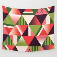 watermelon Wall Tapestries featuring watermelon by Gray