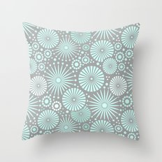 Mint and grey geometric flowers Throw Pillow