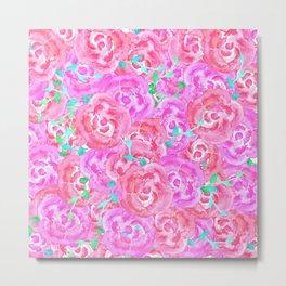 Bouquet pink watercolor roses floral pattern Metal Print
