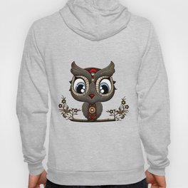 Cute little steampunk owl with floral elements Hoody