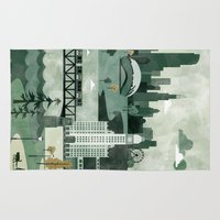 travel poster Area & Throw Rugs featuring Chicago Travel Poster Illustration by ClaireIllustrations
