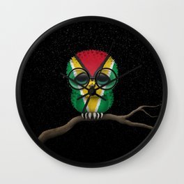 Baby Owl with Glasses and Guyanese Flag Wall Clock