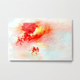 Red Dawning of a Long Journey Abstract Metal Print