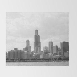Chicago Skyline Black and White Throw Blanket