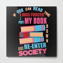 Book Reading Society Metal Print