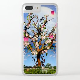 Cherry blossom tree with pink lanterns Clear iPhone Case