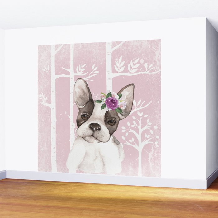 Animals in Forest - The little French Bulldog Wall Mural