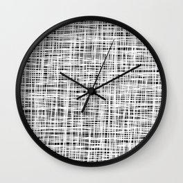 Hand drawn Lines Pattern-White on Black - Mix & Match with Simplicity of life Wall Clock