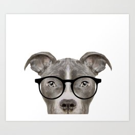 Pit bull with glasses Dog illustration original painting print Art Print