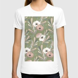Anemones & Olives - Green T-shirt