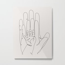 Family Hands Beige III Metal Print