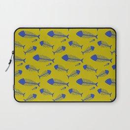 Ogre yellow & Blue fish skeleton pattern Laptop Sleeve
