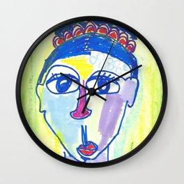 Crazy Face Blue Hair Wall Clock