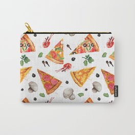 Pizza Pattern, Food Pattern, Watercolor Pizza Carry-All Pouch