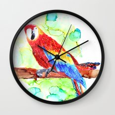 Watercolored Parrot Wall Clock