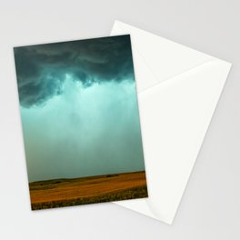 Open the Heavens - Panoramic Storm with Teal Hue in Northern Oklahoma Stationery Cards