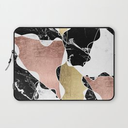 Modern white black marble rose gold foil color block handdrawn geometric lines Laptop Sleeve