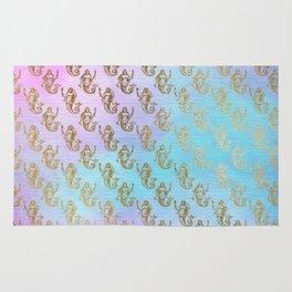 Watercolor Gold Mermaid Rug