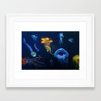 jelly fish Framed Art Prints featuring Jelly-Jelly-Fish by Fknjedi1